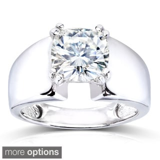 Annello by Kobelli 14k White Gold Cushion-cut Moissanite Solitaire Engagement-style Ring