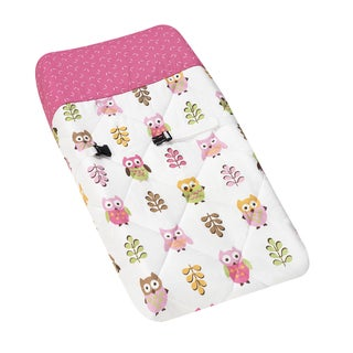 Sweet JoJo Designs Pink Happy Owl Changing Pad Cover