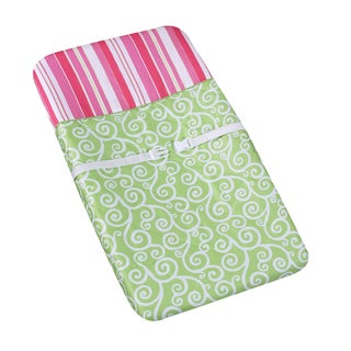 Sweet JoJo Designs Green and Pink Olivia Changing Pad Cover
