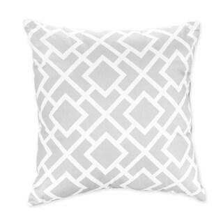 Sweet JoJo Designs Gray and White Diamond Decorative Throw Pillow