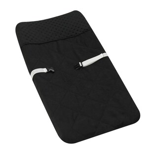 Sweet JoJo Designs Solid Black Minky Dot Changing Pad Cover