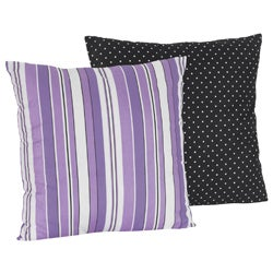 Sweet JoJo Designs Kaylee Purple Stripe 16-inch Reversible Decorative Pillow