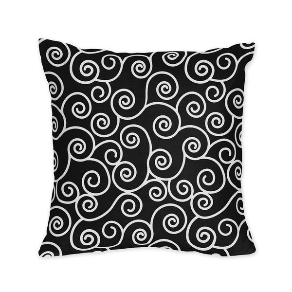 Sweet JoJo Designs Kaylee Black and White Scroll 16-inch Decorative Throw Pillow