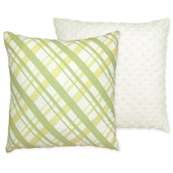 Sweet JoJo Designs Leap Frog Plaid and Minky Dot Reversible 16-inch Decorative Pillow