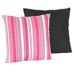 Sweet JoJo Designs Madison Pink Stripes Black Dot Reversible 16-inch Decorative Pillow (As Is Item)