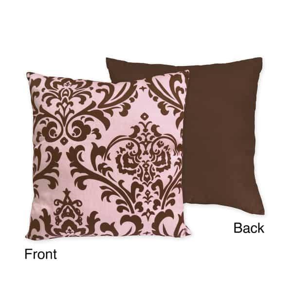 Sweet JoJo Designs 'Nicole' Pink/ Chocolate Reversable Damask 16-inch Decorative Pillow