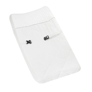 Sweet JoJo Designs Solid White Minky Dot Changing Pad Cover