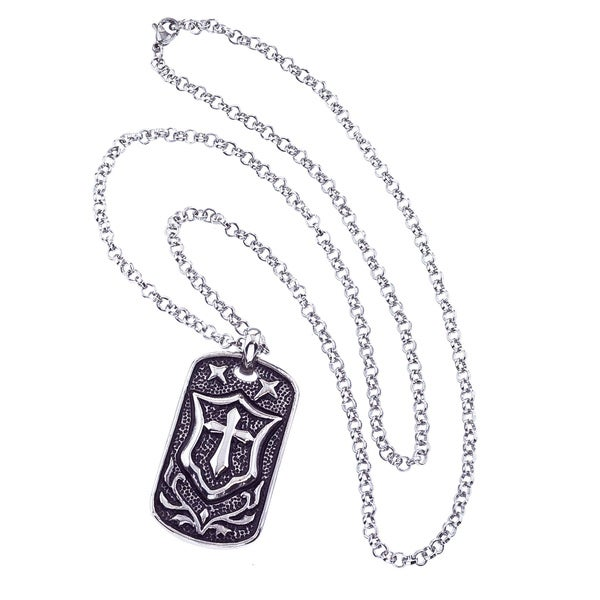 Stainless Steel Cross and Shield Dog Tag Necklace By Ever One