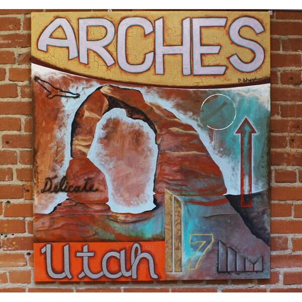 Decenni Custom Furniture Dodd Holsapple 'Arches of Utah' Original Mixed Medium Painting