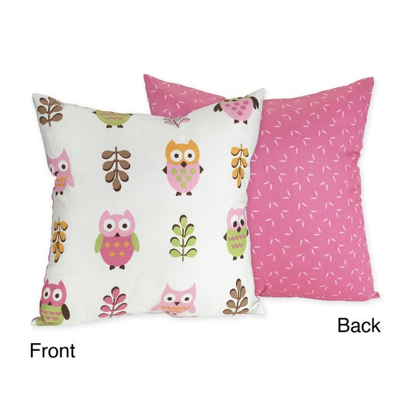 Sweet JoJo Designs 'Happy Owl' Pink Reversible 16-inch Decorative Pillow