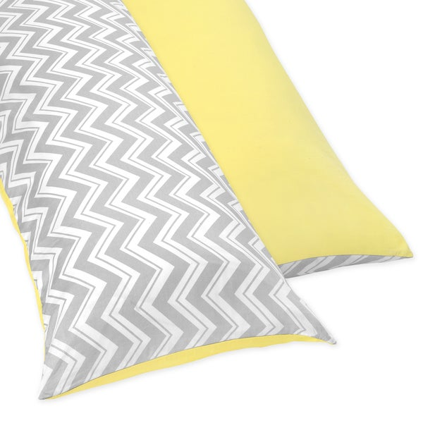 Sweet JoJo Designs Yellow and Grey Zig Zag Full Length Double Zippered Body Pillow Case Cover