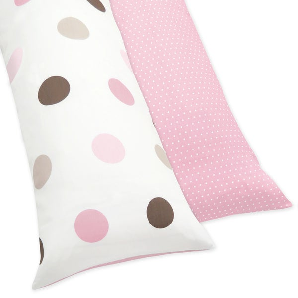 Sweet JoJo Designs Pink and Brown Mod Dots Reversible Full Length Double Zippered Body Pillow Case Cover