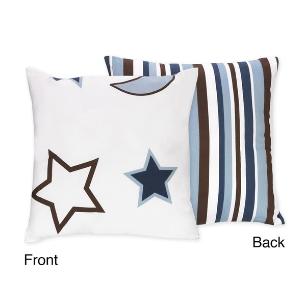 Sweet JoJo Designs 'Starry Night' Blue/ Brown Reversible 16-inch Decorative Pillow
