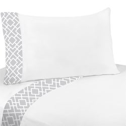 Sweet Jojo Designs Grey and White Diamond Twin Sheet Set