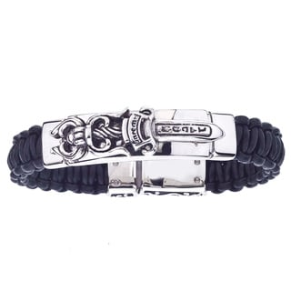 Stainless Steel and Black Leather Men's Dagger Bracelet By Ever One