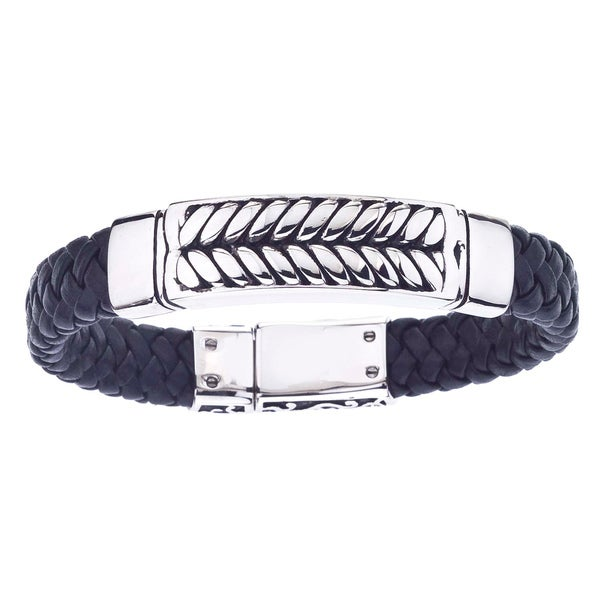 Stainless Steel and Black Leather Antiqued-Finish Men's Braided Bracelet By Ever One. Opens flyout.