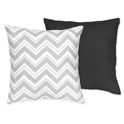 Sweet JoJo Designs Zig Zag Grey/ Black Reversible 16-inch Decorative Pillow