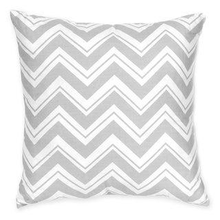 Sweet JoJo Designs Zig Zag Yellow and Grey Reversible 16-inch Decorative Pillow