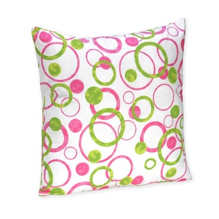 Sweet Jojo Designs Pink and Green Modern Circle Polka Dot Throw Pillow