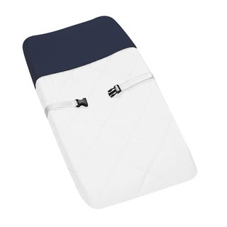 Link to Sweet JoJo Designs White and Navy Modern Hotel Baby Changing Pad Cover Similar Items in Child Safety