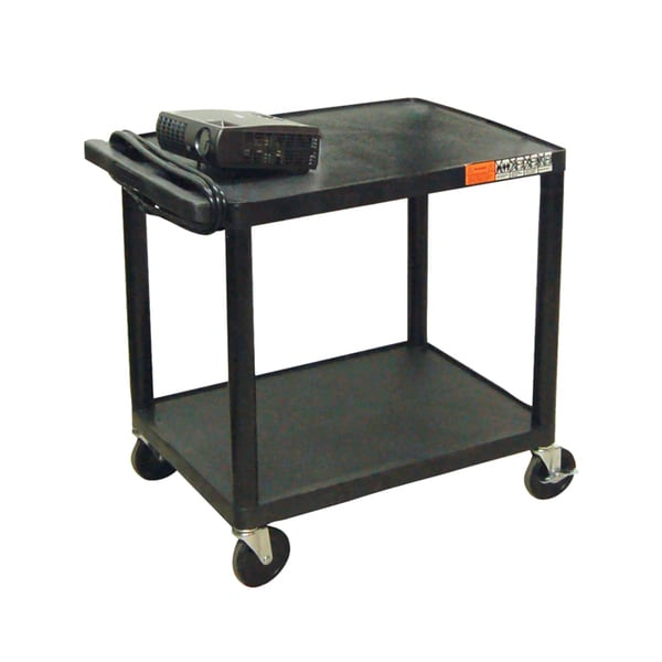 Offex Multi Purpose Two Shelf Rolling Storage Cart With Electric