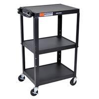 Offex OF-AVJ42 Black 3-shelf Adjustable Height Steel A/V Cart