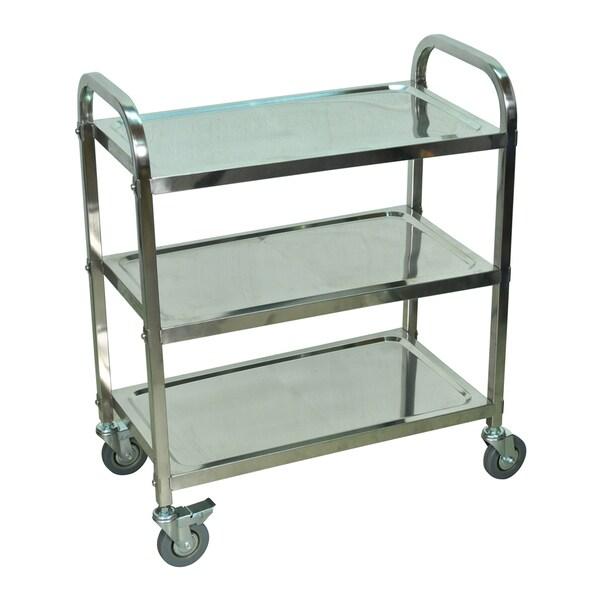 Offex Multi-Purpose 3-Shelf Stainless Steel Storage Multipurpose Industrial Furniture Cart - Silver