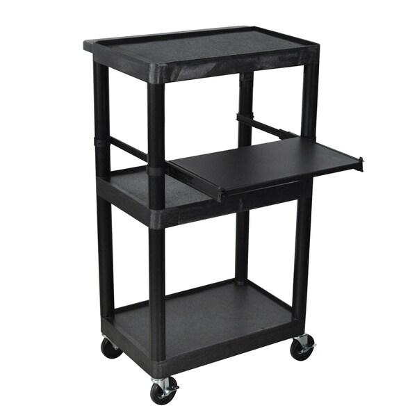 Offex Heavy Duty 3 Shelf AV Storage Cart Shelves with Keyboard Tray Black