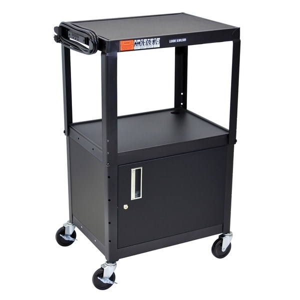 Offex OF-AVJ42C Black Adjustable Height Steel A/V Cart with Locking Cabinet