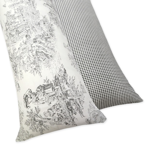 Sweet JoJo Designs French Toile Full Length Double Zippered Body Black/ Ivory Pillow Case Cover