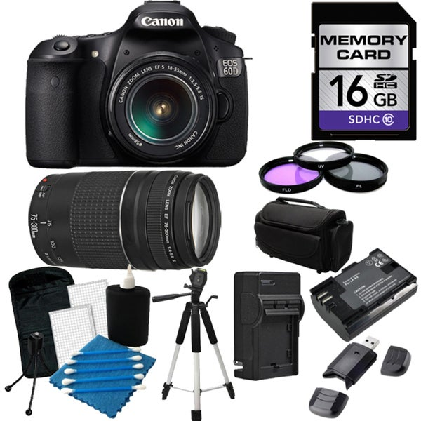 Canon EOS 60D Pro Digital SLR Camera with 18-55 IS II & 75-300 III Lens Bundle