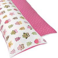 Sweet JoJo Designs Pink Happy Owl Full Length Double Zippered Body Pillow Case Cover