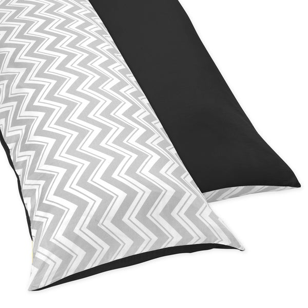 Sweet JoJo Designs Black and Grey Zig Zag Full Length Double Zippered Body Pillow Case Cover