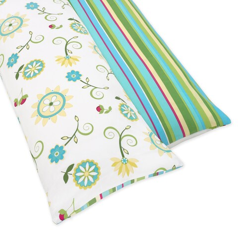 Sweet JoJo Designs Turquoise and Lime Layla Full Length Double Zippered Body Pillow Case Cover