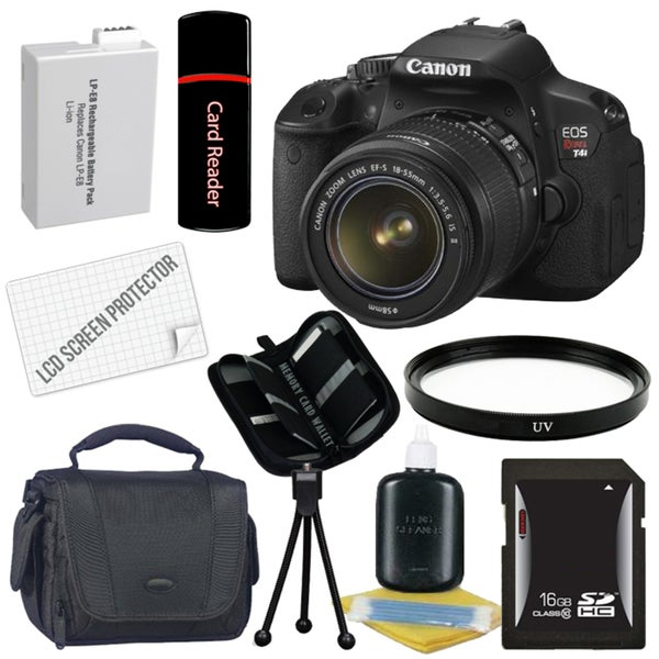 Canon EOS Rebel T4I Digital SLR Camera with18-55 IS II Lens Bundle