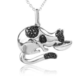 ASPCA Tender Voices Sterling Silver 1/4CTtw Black Diamond Cat Necklace