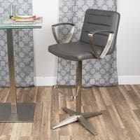 MIX Brushed Stainless Steel Adjustable Height Swivel Stool with Arms X Base