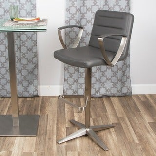 Brushed Stainless Steel Adjustable Height Swivel Stool with Arms X Base