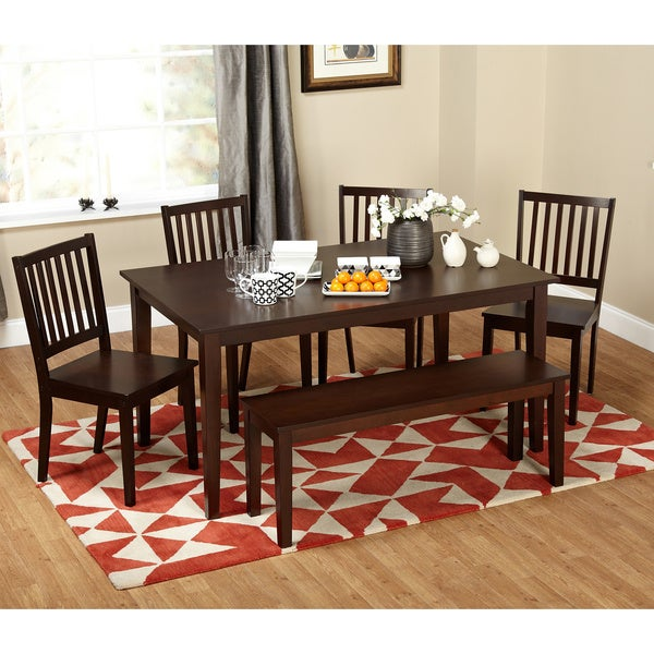 Simple Living Shaker Espresso 6-piece Dining Table Set with Bench