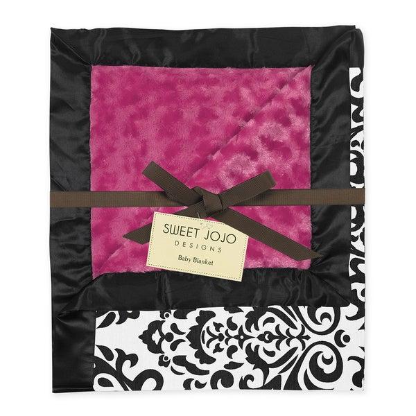 Sweet JoJo Designs Isabella Damask Hot Pink Minky Swirl Baby Blanket