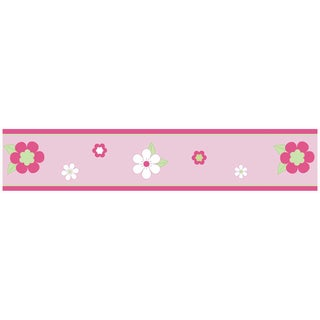 Sweet JoJo Designs Pink and Green Flower Wall Border