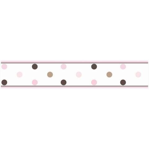 Sweet JoJo Designs Pink and Brown Mod Dots Wall Border