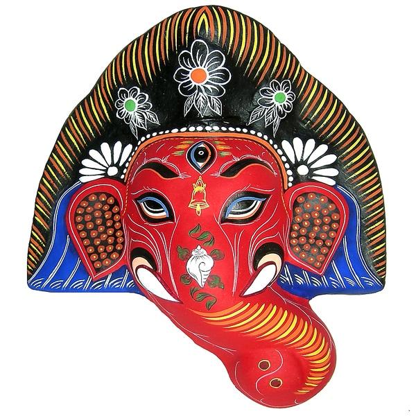 Shop Towels Paper Mache: Shop Red Ganesh Paper Mache Mask (Nepal)