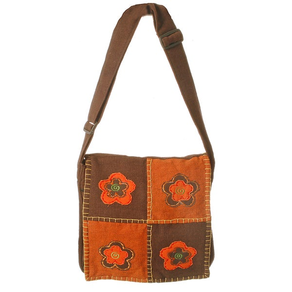 Brown Cotton Flower Patch Bag (Nepal)