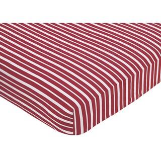 Sweet JoJo Designs Vintage Aviator Red Stripe Fitted Crib Sheet