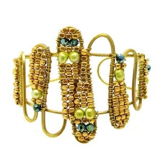 Handmade Exotic Wire Works Pearl Accented Brass Cuff (Thailand)
