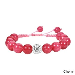 Handmade Macrame Beams Crystal Ball Adjustable Bracelet (Thailand)