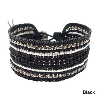 Handmade Black Metal Meadows Multicolor Crystals Bracelet (Thailand)