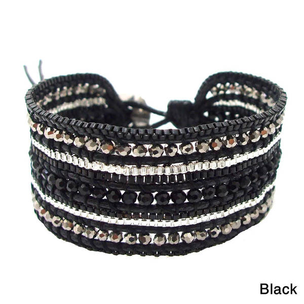 Handmade Black Metal Meadows Multicolor Crystals Bracelet (Thailand)