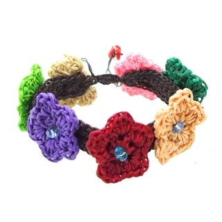 Handmade Floral Galore Multicolor Chrochet Cotton Wax Rope Bracelet (Thailand)